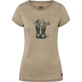 super.natural Blooming Boots Tee Women, beige